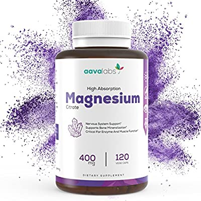 Magnesium Citrate Supplement [ 400 mg ] By Aava Labs - Pure & Non-Buffered - For Healthy Bones & Heart Function, Sleep Aid & Relaxation - 100% Vegan and Non-GMO - 120 Veggie Caps. by Aava Labs