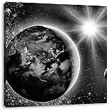 Monocrome, Erde im Weltall, Format: 70x70 auf Leinwand, XXL riesige Bilder fertig gerahmt mit Keilrahmen, Kunstdruck auf Wandbild mit Rahmen, günstiger als Gemälde oder Ölbild, kein Poster oder Plakat