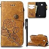 BtDuck Hülle Nokia Lumia 630 N630 Retro Blume Frauen, Slim Tasche Vintage Brieftasche Handyhülle Ledertasche Flip Cover SchutzHülle Nokia Lumia 630 N630 CoverSilikon Back Brieftasche Braun