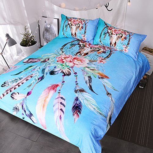 Land Twin-size-bett (blessliving Buffalo Skull mit Federn Traumfänger Betten Southwestern Boho Chic Bettbezug Colorful Tribal Bett-Set, aqua, King Size)