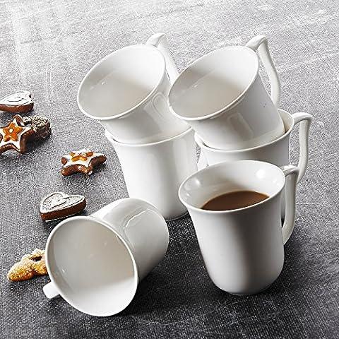 Malacasa, Serie Amparo, 24 Teilig Set Kaffeeservice Cremeweiß Porzellan Kaffeetasse Tassen 4,75 Zoll / 12*9,5*10cm / 290ml Becher Teetasse Kaffeebecher-Set Bechersets