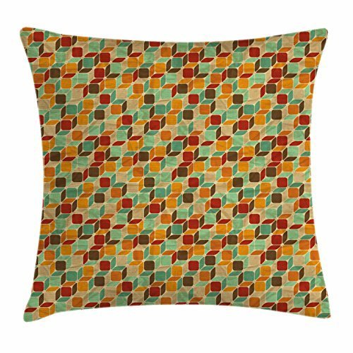 Geometric Throw Pillow Cushion Cover, Retro Cubes Colorful Squares Worn Out Effect Vintage Inspirations Abstract Shapes, Decorative Square Accent Pillow Case, 18 X 18 Inches, Multicolor