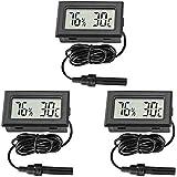 Thlevel Mini Termómetro Digital LCD con Sonda Externa, Termómetro Higrómetro para Frigorífico, Habitaciones, Guardarropas, Cu