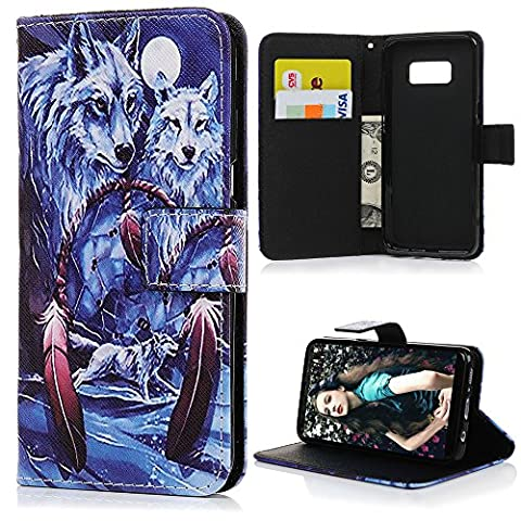 S8 Leather Case KASOS S8 2017 Leather Case Winter Frost Snow Wolf Cold-Blooded Lonely &Persistent For Prey Front Button[Flip Wallet Leather Case] Purse Cover [Cash/Card Slots] Change Pouch Notebook Design Magnetic Closure Kickstand Soft Flexible TPU Bumper Cradle Shell for Samsung Galaxy S8