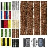 Flauschvorhang 90x200cm Insektenschutz Campingvorhang in Verschiedenen Farben, Auswahl: Unistreifen Braun