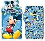 L.T.Preferita Disney Mickey Mouse Hey 3pezzi Set Letto Singolo Copripiumino + Federa + Lenzuola c/Angoli Cotone Biancheria da Letto Bambini