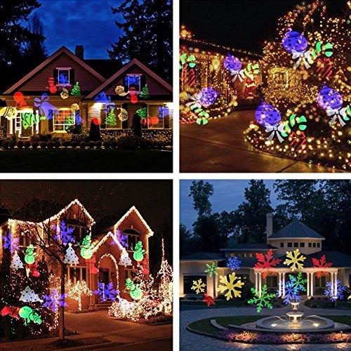 Podofo Weihnachten LED-Projektor-Lichter 10 x-Muster-Objektiv beweglicher Landschaftsscheinwerfer wasserdicht für Wand, Garten, Partei, Feiertag, Innen-, im Freienfest Dekorationen Nachtlicht Lampe (mehrfarbig) (Halloween-innen-dekoration)