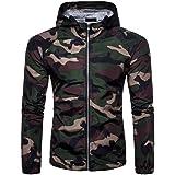 Loeay Giacca Leggera da Uomo Camo Giacca Casual Casual Antivento Cappotto Stile Militare Camouflage Maschile con Cappuccio Gi