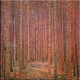 Time4art Gustav Klimt Print Canvas Bild Tannenwald Firwood Fir Forest Jugendstil auf Keilrahmen Leinwand verschiedene Größen (80x80cm)