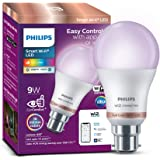 Philips Smart Wi-Fi LED bulb B22 9-Watt WiZ Connected (16 Million Colors + Warm White/Neutral White/White + Dimmable…