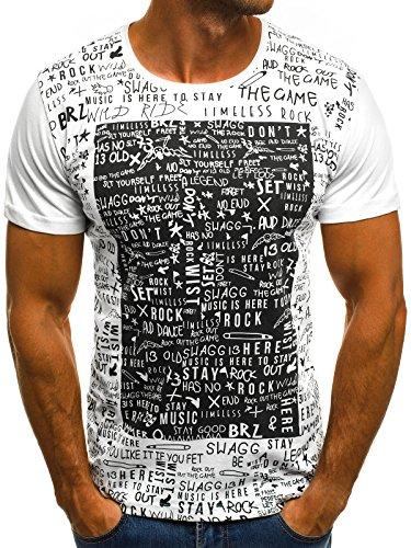 OZONEE Herren T-Shirt mit Motiv Print Kurzarm Rundhals Figurbetont O/1173 Weiß S