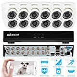 KKMOON 16CH Kanal Full 960H / D1 800TVL CCTV-Überwachung DVR Sicherheitssystem P2P Cloud Onvif Netzwerk Digital Video Recorder + 12 * Innenkamera + 12 * 60ft Kabel¡