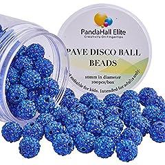Idea Regalo - PandaHall Elite 1 Scatola 100PCS 10mm Perline Argilla Disco Ball Perline Distanziatori Rotonde Zaffiro Strass Shamballa Bracciali Braccialetti