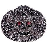 Bonjanvye Crystal Rhinestone Bags Purses with Skulls Clutch Evening Bag for Halloween Party Gray