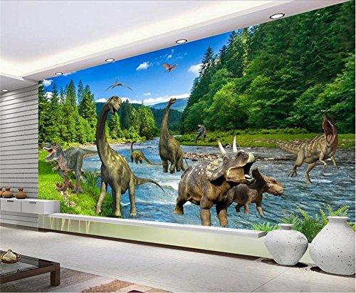 fototapete dino Yosot Custom 3D Vliestapeten Tv-Kulisse Wandbilder Jura Dinosaurier 3D Home Dekoration-140Cmx100Cm