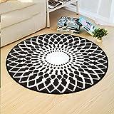 JH Schwarz-Weiß-Lotus-Muster Runden Teppich Wohnzimmer Bodenmatte Computer Stuhl Kissen Studie Korb Matte (Size : 120 cm Diameter)
