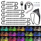 Justech 12pcs Kit de Tiras de Luces de Motocicleta 15 Colores RGB 72 LED Neon Flexible Juego de Tiras de Luces Control Remoto Inalámbrico