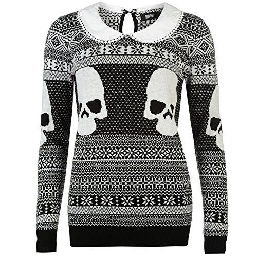 Iron Fist Femme A Col Sweater Sweatshirt Top Haut Tricote Imprime Manche Longue Christmas Girly