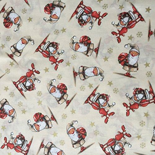 creme-100-baumwolle-santa-claus-rentier-mit-gold-bedruckt-star-und-snow-flake-festive-christmas-prin