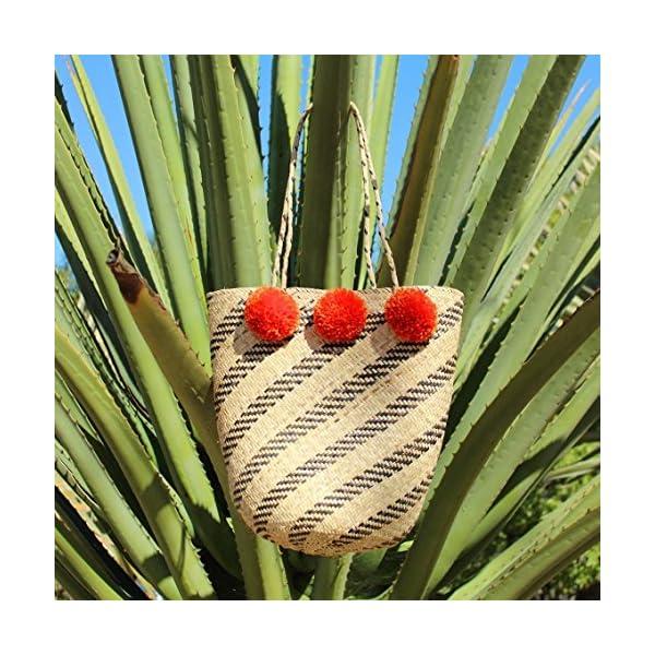 BrunnaCo Pompom Beach bag in Tangerine / Beach straw tote / Boho Pompom Tote / Woven Rattan bag, Casual Chic Tote / Woven Beach Basket / Picnic Basket / Pompom Bag - handmade-bags