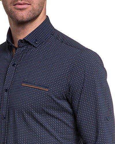 BLZ jeans - Chemise bleu navy motifs marron stylé Bleu