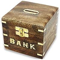 Preisvergleich für SKAVIJ Holzbox Quadratisch Sparbüchse Spardose Handgemacht Sparschwein zum Geburtstag Holzbox mit Deckel Vintage 13 cm