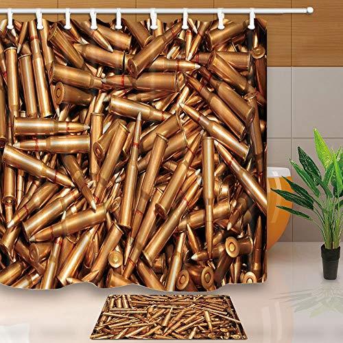 vrupi War Duschvorhänge, dick, gepunktet, Gewehr-Munition, 180,3 x 180,3 cm, schimmelresistent, Polyester-Stoff, Duschvorhang-Set mit 39,7 x 59,9 cm, Flanell-Fußmatte, Badteppich -