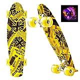 Mini Cruiser Board,55cm Komplettboard Skateboard mit stabilen Deck 4 PU-Rollen für Kinder, Jugendliche und Erwachsene
