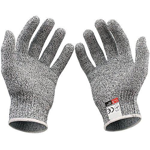 1 Paar Schnittfest Handschuhe Klasse 5 Schutz, EN-388 Zertifiziert Lebensmittelecht Schnittschutzhandschuhe für Küche Gartenbau 20-26cm