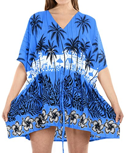 La Leela Bademode Bikini Strand verschleiern Badebekleidung Badeanzug Kaftan Kleid Frauen verschleiern Blau
