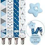Liname Schnullerkette - 4 Stück Geschenkbox & BONUS Beißring - Premium Qualität Universeller Schnullerband Clip Für Alle Schnuller Mit Und Ohne Ring - Modisches Design