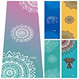 Yoga Towel,Non Slip Mat Towel with Smart Corner Pockets and Elastic Loop