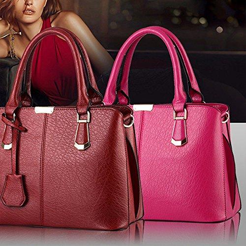 Albeey Damen Handtasche PU-Leder Schultertasche Frauen Umhängetasche Rot
