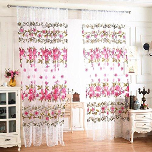 sixcup 1psc Tür Fenster Balkon Print peach blossom Tüll Voile Vorhang Panel Fall Volant 200cm x 100cm (Blumen Tüll Dekoration Aqua)