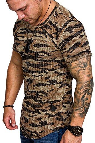 Amaci&Sons Oversize Camouflage Herren Shirt Sweatshirt Crew-Neck 6012 Camouflage Beige M