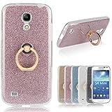 Für Samsung Galaxy S4 Mini Hülle, Pheant® Schutzhülle mit Ständer Ring [Durchsichtige Handyhülle + Glitzer Papier in Rosa]