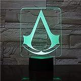 3D Illusion Lamp Assassins Creed Game Design 3D Led Nightlight Regalo Per La Decorazione Della Camera Da Letto Dei…