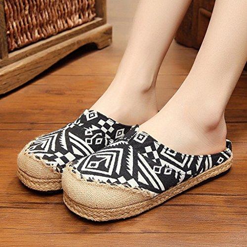 DM&Y 2017 Thailandia le scarpe di tela estate scarpe casual delle donne di colore di periodo pantofole di cotone cucitura a mano Black