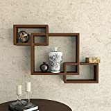 DecorNation Wall Mounted Shelf Set of 3 Floating Intersecting Storage Display Wall Shelves - Brown
