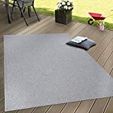 In- & Outdoor Flachgewebe Teppich Terrassen Teppiche Natürlicher Look In Grau, Grösse:80x150 cm