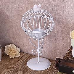OLQMY-Muebles de hierro forjado, candelabros de hierro forjado, adornos de metal vintage, decoración para el hogar creativo,Blanco