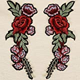 Goldge 2er Aufnäher Bügelbilder Blumen Rose Stickerei Kleidung Patch Zum aufbügeln für T-Shirt Jeans Hut Tasche