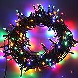AOFENG Solar Lichterkette 22m LED Bunt Solarlichterkette Wasserdicht Außenlichterkette Weihnachtsbeleuchtung für Hochzeit, Party, Garten (22m, Bunt)