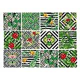 Sticker Carrelage - Carreaux de Ciment - Junglecolor - 12 pièces (10 x 10 cm)