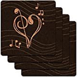 Treble Bass Clef Heart Music Black Low Profile Cork Coaster Set by Graphics and More