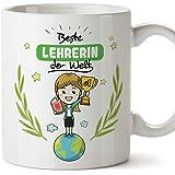 Mugffins Lehrerin Tasse/Becher/Mug Geschenk Schöne and lustige kaffetasse - Beste Lehrerin der Welt - Keramik 350 ml