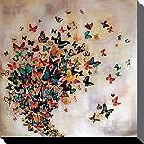 Mariposas - Flock Of Butterflies, Lily Greenwood Cuadro, Lienzo Montado Sobre Bastidor (40 x 40cm)
