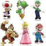 6pcs / Set Super Mario Toys - Figuras de Mario y Luigi Figuras de acción de Yoshi y Mario Bros Figuras de Juguete de PVC de M
