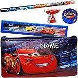 alles-meine.de GmbH 5 TLG. Schreibset _ Disney Cars - Auto - Lightning McQueen - inkl. Name _ Bleistift + Lineal + Radiergummi + Spitzer + Stiftemappe - Federmappe / Kinder - Set..