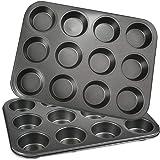POKIENE Lot de 2pcs Moules à Muffins, Antiadhésif Moules à 12 Muffins en Acier Carbone, Moule à Cupcake pour Faire Brownies,